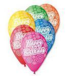 Balónky s potiskem Happy Brithday, mix barev, 100 ks