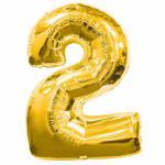 Balónek fóliový narozeniny číslo 2 zlatý 88 cm