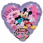 Foliový balonek Mickey a Minnie hrající srdíčko 81cm