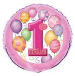 1. narozeniny foliový balonek růžový 45,1 cm
