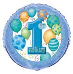 1. narozeniny foliový balonek modrý 45,1 cm