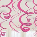 Závěsná dekorace růžová 12ks 55,8cm
