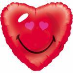 Foliový balónek srdce se smajlíkem 43 cm