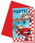 Letadla Disney pozvánky na party 6ks