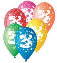 Balónky s potiskem číslice 3 – pastelová mix barev, 6 ks