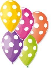 Balónky Potisk puntík – pastelová mix barev, 50 ks