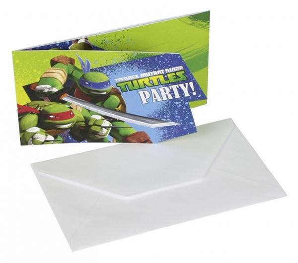 Želvy Ninja pozvánky na narozeniny 6ks
