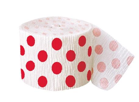 Krepový papír červeno - bílý